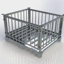 <b>Pallet Gaiola Desmontável</b> de alumínio nas dimensões de 1000 x 1200 x 755mm, construído com estrado sem deslizadores, 7 travessas com vão entre elas de 60mm e gaiola desmontável, vão da grade de 25, 50 ou 100mm, com ou sem tampa superior, com todos os Tubos Soldados entre si. Capacidade de carga 1200kg. Pode ser empilhável 2 peças.