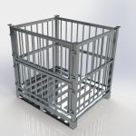 <b>Pallet Gaiola Fixo.</b> Pallet Gaiola de alumínio nas dimensões de 1000 x 1200 x 1180mm, construído com estrado de 2 deslizadores, 7 travessas, gaiola com 3 lados fixos e fechada na frente com 2 portas removíveis com sistema de encaixe, vão da grade de 25, 50 ou 100mm, com ou sem tampa superior removível. Pode ser empilhável 2 peças.