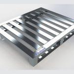 Pallet de Alumínio - 2 Deslizadores e 7 Travessas medindo 1000 x 1200 x 150mm  com 2  pés do tipo deslizador, 7 travessas, com vão entre elas de 60mm, capacidade de carga distribuída 1200kg.
