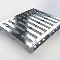 Pallet de Alumínio - 3 Deslizadores e 7 Travessas, medindo 1000 x 1200 x 150mm com 3 pés do tipo deslizador e 7 travessas, com vão entre travessas de 60mm, capacidade de carga distribuída 1300kg.