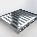 Pallet de Alumínio - Com contenção 2 Deslizadores e 7 Travessas, medindo 1000 x 1200 x 150mm, com 2 pés do tipo deslizador e 7 travessas, com vão entre travessas de 60mm, capacidade de carga distribuída 1200kg.