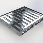 Pallet de Alumínio - Com Contenção 3 Deslizadores e 7 Travessas, medindo 1000 x 1200 x 150mm, com 3 pés do tipo deslizador e 7 travessas, com vão entre travessas de 60mm, capacidade de carga distribuída 1300kg.