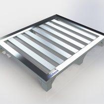 Pallet de Alumínio – Com contenção, sem deslizadores 6 pés e 7 Travessas, medindo 1000 x 1200 x 150mm, com pés reforçados, capacidade de carga distribuída 1300kg.