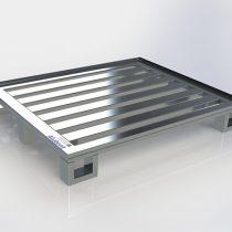 Pallet de Alumínio – Com contenção 6 pés e 6 Travessas tipo SKID, medindo 1000 x 1200 x 150mm com 4 pés do tipo Skid e 2 pés normais, com vão entre travessas de 60mm, ideal para prateleiras com trilhos,  capacidade de carga distribuída 1200kg.